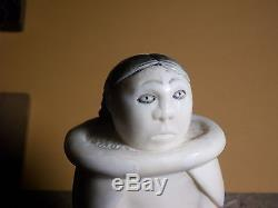 Eskimo Inuit Yupik (Chukchi) Siberia LARGE 6.6 in arving Doll or Girl Figurine