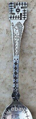 Estate Sterling Fessenden & Co Indian Swastika Spoon-5 1/2-native American