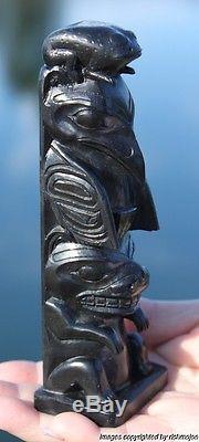 Fine Authentic Old Northwest Coast Haida Argillite Totem Arthur Moody