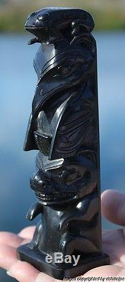 Fine Authentic Old Northwest Coast Haida Argillite Totem Arthur Moody