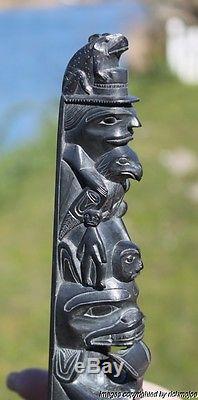 Fine Authentic Old Northwest Coast Haida Argillite Totem Rufus Moody