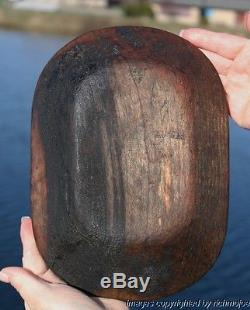 FINE EARLY LARGE ALASKAN YUPIK ESKIMO HISTORIC WOODEN FEAST DISH 19th CENTURY