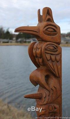 Fine Lrg Old Northwest Coast Nuu-chah-nulth Indian Cedar Totem Charlie Mickey #1