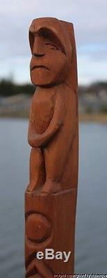 Fine Lrg Old Northwest Coast Nuu-chah-nulth Indian Cedar Totem Charlie Mickey #2