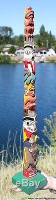 Fine Lrg Old Northwest Coast Salish Tsimshian Indian Cedar Totem Pole #1