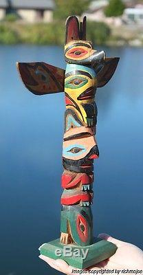 Fine Old Northwest Coast Nootka Nuu-chah-nulth Tlingit Indian Cedar Totem C1930