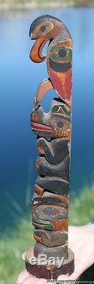FINE RARE OLD NORTHWEST COAST NOOTKA INDIAN CEDAR TOTEM SAM WILLIAMS C1910