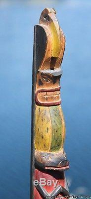 Fine Rare Old Northwest Coast Nootka Nuu-chah-nulth Indian Cedar Totem C1910 #1