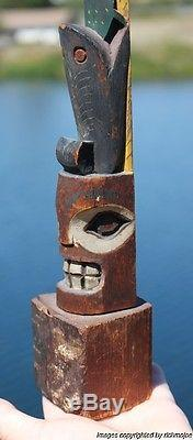 Fine Rare Old Northwest Coast Nootka Nuu-chah-nulth Indian Cedar Totem C1910 #1