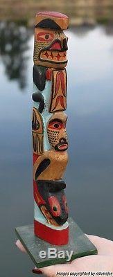 Fine Rare Old Northwest Coast Nootka Nuu-chah-nulth Indian Cedar Totem C1930