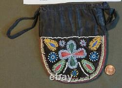 Fine 1850 Native American Handenosaunce Iroquis 2 Sided Beaded Bag Published