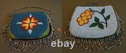 Fine 1910 30's Native American Plateau 2 Sided Contour Beaded Bag