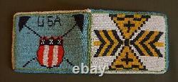Fine 1940's Native American Umatilla Warm Springs 2Sided Patriotic Beaded Wallet
