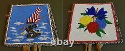 Fine 1940's Native American Yakama 2 Sided Fully Beaded Bag Bald Eagle & Flowers