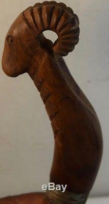 Fine Antique American Indian (Native American) Crooked Knife with Ram's Head