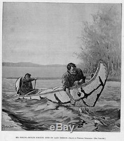 Frederic Remington Fishing Indians Birch Bark Canoe Paddle Fish Net Lake Nepigon
