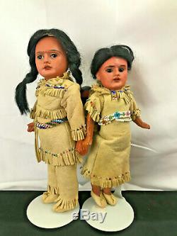 German bisque AM Scowling Indian dolls w Baby in beaded buckskin outfits ORIG