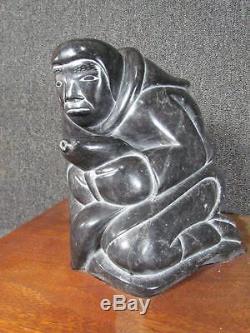Gigantic Inuit Eskimo Presentation Carved Stone Figure, 40lbs, Wood Base
