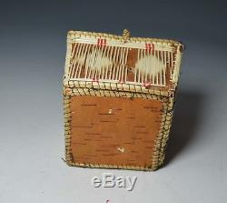 Good old American Indian Birch bark quill work box