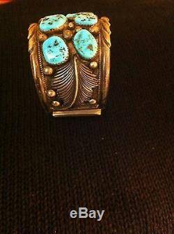 Gorgeous Antique Old Pawn Signed Huge Turquoises& Sterling Silver Cuff Bracelet