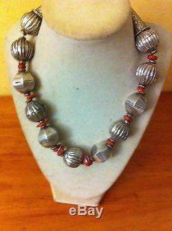 Gorgeous Real Antique Old Pawn Huge Sterling Silver Beads Necklace With Corals