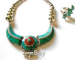 Gorgeous Very Large Sterling Squash Blossom Turquoise Coral Necklace & Ring