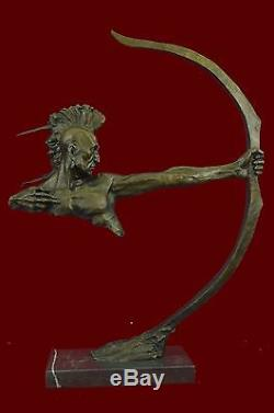 HUGE 29 Native American Art Mohican Indian Warrior Spear Bronze Marble Statue