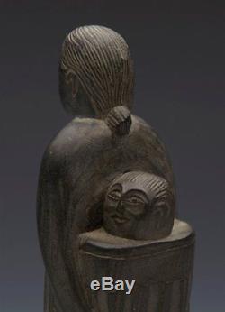 Haida Northwest Native American Carved Agrillite Woman & Child 19/20th C