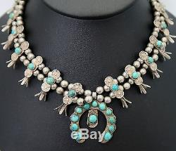Hand Crafted ANTIQUE Sterling Silver 15 Long SQUASH BLOSSOM Turquoise Necklace