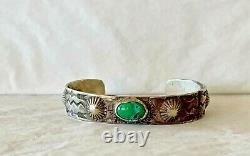 Handmade Antique Native American Navajo Coin Silver Turquoise Pawn Bracelet