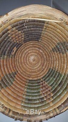 Heavy Antique 19TH CENTURY APACHE NATIVE AMERICAN INDIAN BASKET 9 ×13