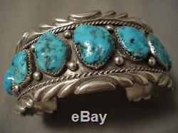 Heavy Deep Wave Vintage Navajo Turquoise Silver Bracelet Antique