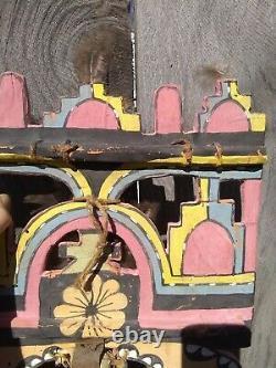 Hopi Kachina Tableta Antique Palhik'mana Butterfly Native American Headdress