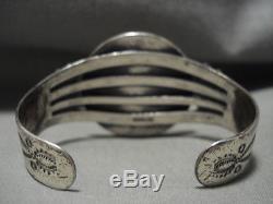 Huge 1922 Coin Vintage Navajo Silver Bracelet Old Vtg Antique Jewelry
