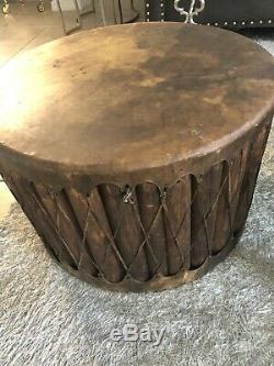 Huge Vintage Native American Pow Wow drum. Hand carved wood