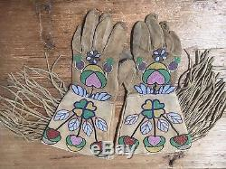 Incredible Old Crow Or Plateau Beaded Gauntlets Cut Beads Native American
