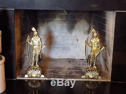 Indian Andirons Brass, Native American with Bow, Rare form, Fantastic condition