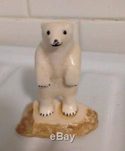 Inuit Eskimo Yupik Carving Polar Bear Sculpture Figurine Signed M. Miklahook 85G