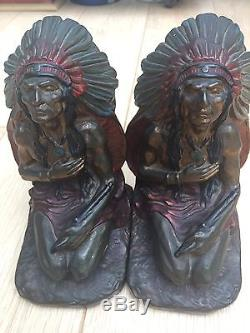 J L Lambert Antique Pair Of Bookends Armor Bronze American Indian Chief Statue