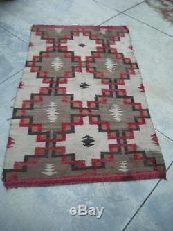 Large Antique Vintage Navajo Indian Rug Transistional Era Weaving No Borders