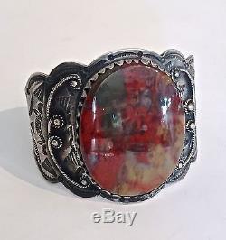 Large Antique Native American Pawn Silver & Agate or Jasper Cuff Bracelet