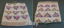 Large Early 1900 Native American Warm Springs Umatilla Corn Husk Bag