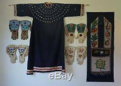 Large Late 1800 Native American Anishinaabe Woodlands Fully Beaded Bandolier Bag