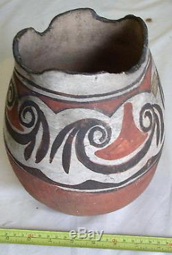 Large Native American Redware Pottery Jar Vessel Pueblo 19th C Olla Acoma Zuni