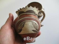 Lot Of 3 As Is Acoma Native American Indian Antique Pot Sculpture Bowl Painting