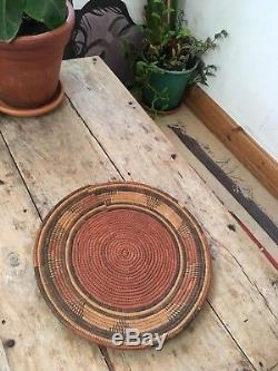 Lovely Old Native American or Vintage African Coil Woven Wall Tray Basket