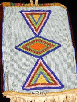 Lrg Antique Crow Plains Indian Beaded Tobacco Bag C. 1890-1910 Sinew Beaded