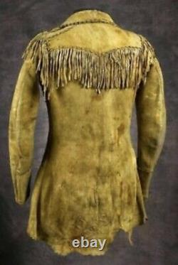 MENS Native American Buckskin Cow Suede Leather Fringe Jacket Bones Braid