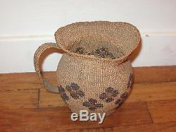 Modoc Unusual Basket Antique Native American Indian Pitcherold & Very Unique