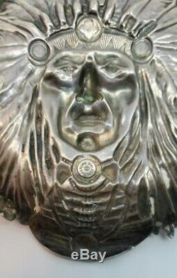 Magnificent Unger Brothers Sterling Silver Native American Indian Chief Dish